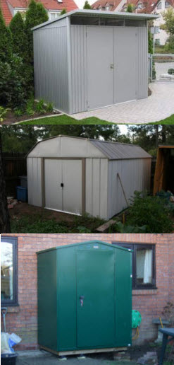 three styles of metal storage shed from three very different manufacturers