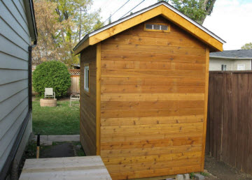 shed with cedar siding