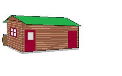 Shed with rain barrel in back