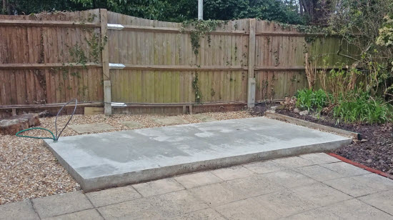 Concrete shed foundation