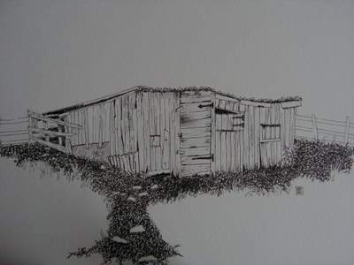 shed in pen and ink