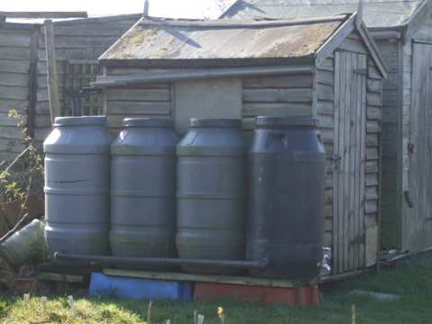 A 55 or 30 gallon water barrel are the typical sizes available and