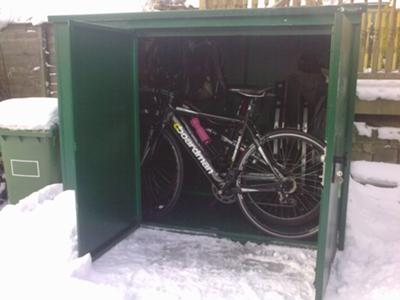 Metal bike shed in my garden - In the Snow!