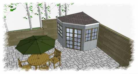 corner garden shed