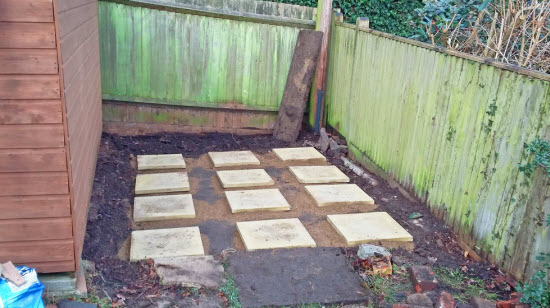 Shed foundation using concrete paving slabs