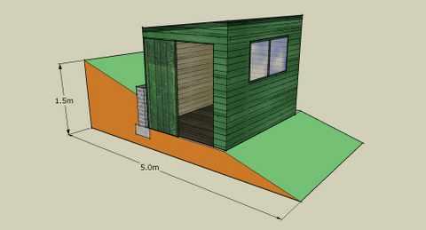 shed on unlevel ground